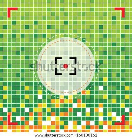focus camera symbol on green background - stock vector