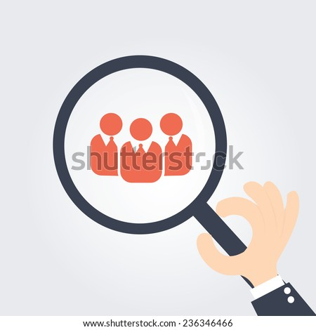 Focus Group. Magnifying glass - stock vector