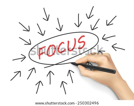 focus word with arrows written by hand on white background - stock vector