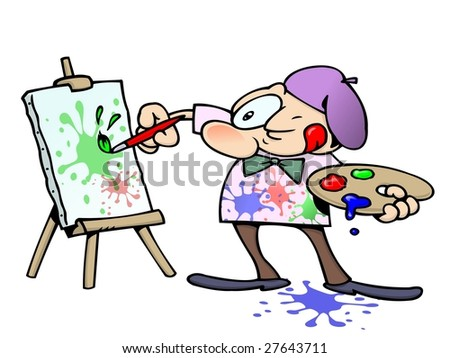 focused male artist squinting while painting colorful splatters on a canvas