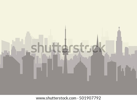 Foggy city skyline silhouette. skyscappers, towers, office and residental buildings. vector illustration