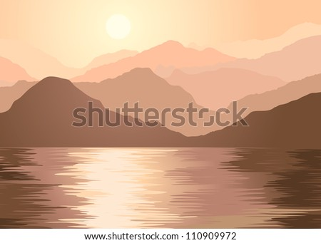 Foggy mountains and lake. File EPS(10) - stock vector