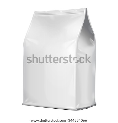 Foil Paper Food Bag Package Of Coffee, Salt, Sugar, Pepper, Spices Or Flour, Folded, Grayscale. On White Background Isolated. Mock Up Template Ready For Your Design. Product Packing Vector EPS10 - stock vector