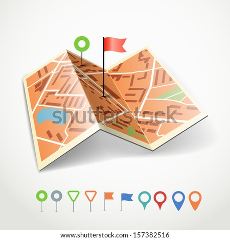 Folded abstract city map with collection of color point pins - stock vector
