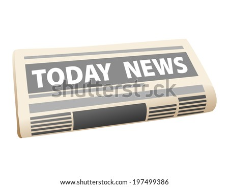 Folded cartoon newspaper icon with the header Todays News, isolated on white background - stock vector
