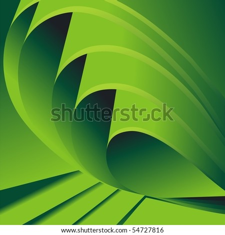 Folded green sheets of paper. Vector background - stock vector