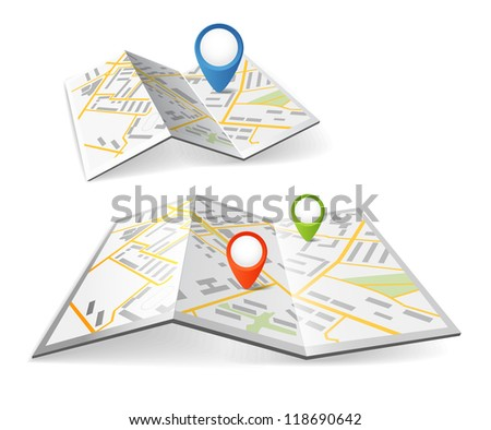 Folded maps with color point markers - stock vector