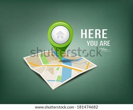 Folded maps with green color point markers design background, vector illustration - stock vector