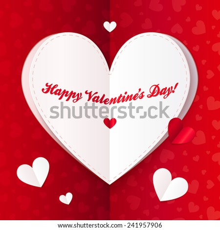 Folded paper vector heart with sign Happy Valentines Day! - stock vector
