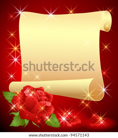 Folded parchment for your text and rose - stock vector
