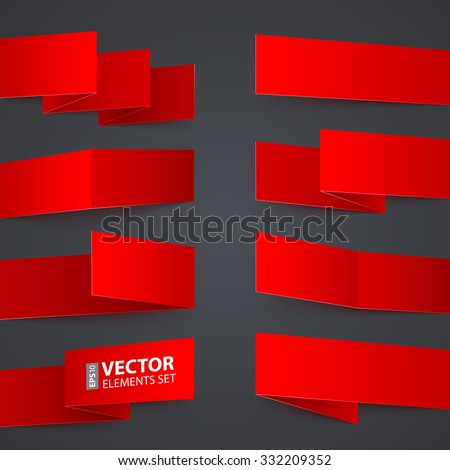 Folded red paper banners with realistic shadows on dark grey background. RGB EPS 10 vector design elements set - stock vector