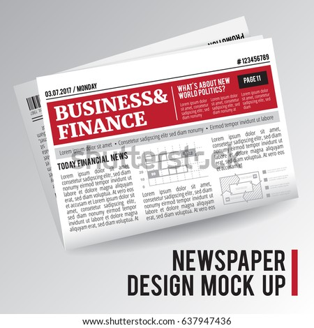 Folded, single, realistic economic newspaper with business and finance information on white background isolated vector illustration
