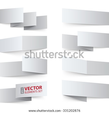 Folded white paper banners with realistic shadows on white background. RGB EPS 10 vector design elements set - stock vector