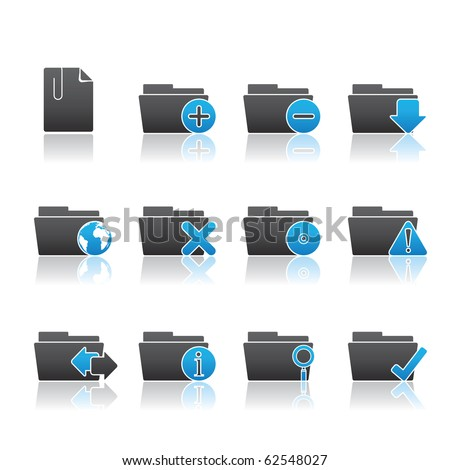 Folder Applications icon set 9 - Blue Series.  Vector eps 8 format, easy to edit. - stock vector