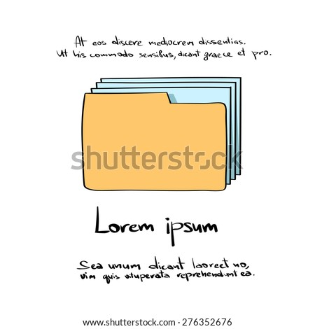 Folder Document Papers Hand Draw Color Icon Vector Illustration - stock vector