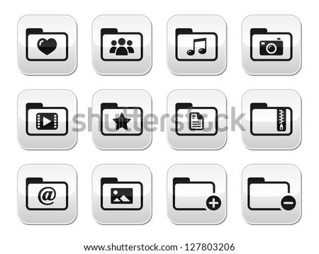 Folder documents music film buttons set - stock vector