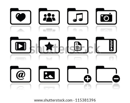 Folder documents music film icons set - stock vector