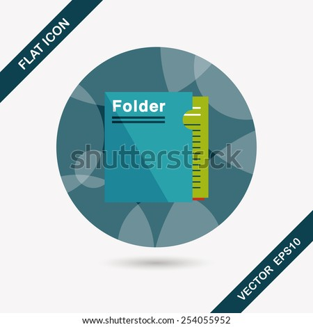 folder flat icon with long shadow,eps10 - stock vector
