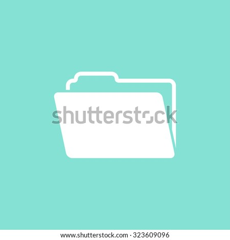 Folder  icon on green background. Vector illustration. - stock vector
