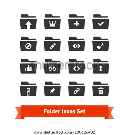 Folder icon set. For web and multimedia. - stock vector