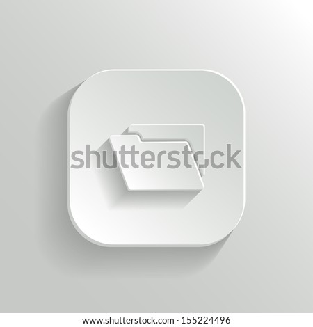 Folder icon - vector white app button with shadow - stock vector