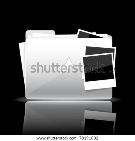 Folder icon. White glossy folder with documents and photo cards isolated on black background - stock vector