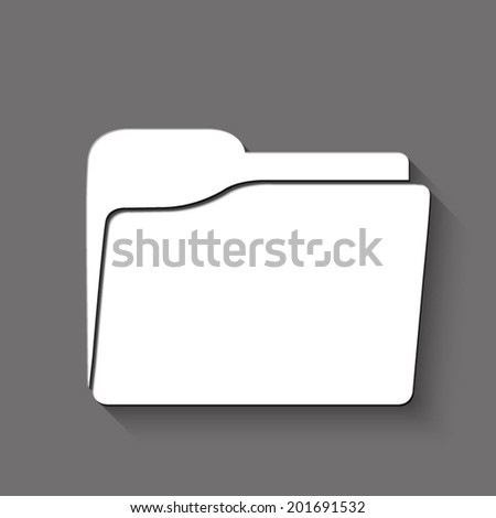 folder icon - white vector illustration with shadow on gray background - stock vector