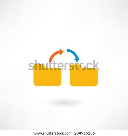 folder icon with arrows - stock vector