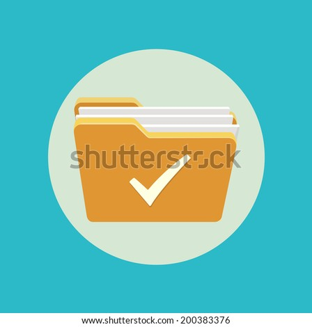 folder icon with checked mark flat design - stock vector