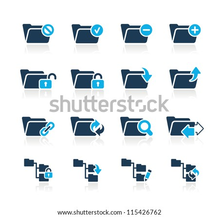 Folder Icons - 1 // Azure Series - stock vector