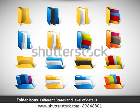 Folder Icons | Different States and Level of Details | 3D Vectors EPS10 - stock vector