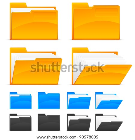Folder icons, isolated on white background vector illustration - stock vector