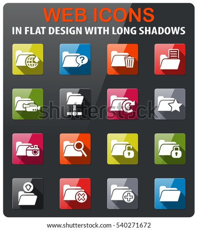 folder icons set in flat design with long shadow
