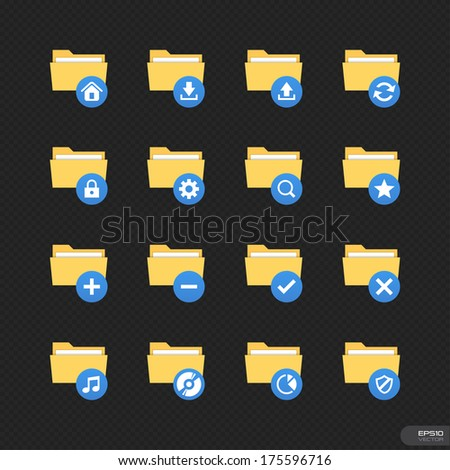 Folder Icons Set 1 with black background - stock vector