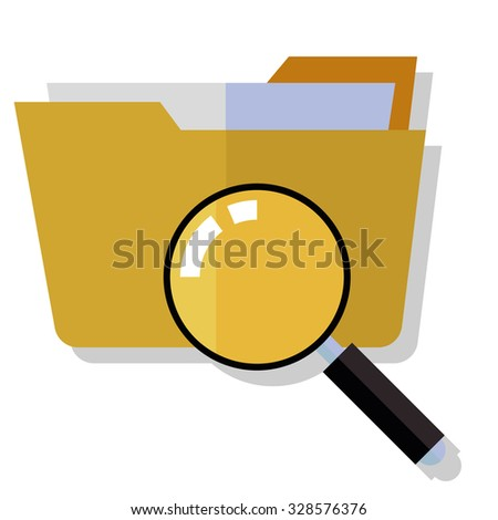 folder search icon - folder under the magnifier. 3d illustration isolated on white - stock vector