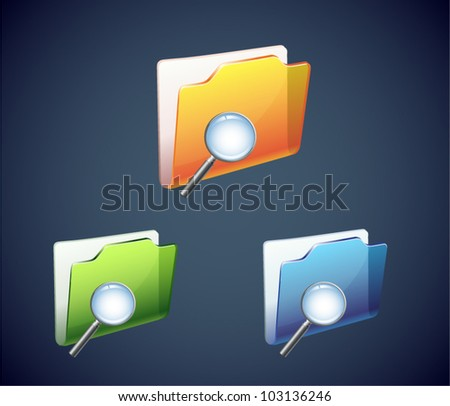 Folder search icon in different color - stock vector