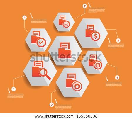 Folder storage infographics design,Orange background,vector - stock vector