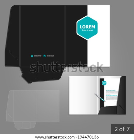 Folder template design for company with blue square elements. Element of stationery. - stock vector