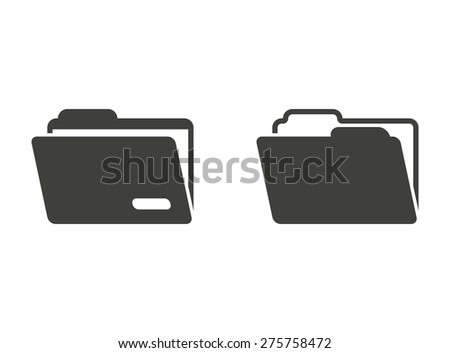 Folder  - vector icons in black on a white background.