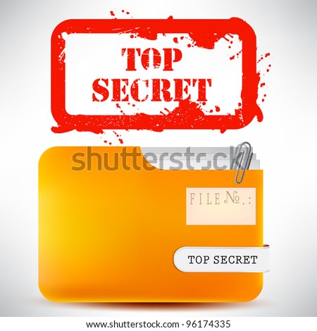 """Folder with documents stamped """"Top Secret"""" - stock vector"""