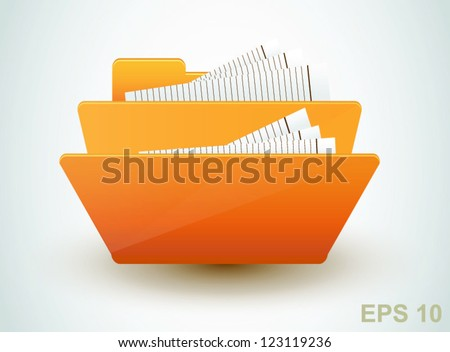 Folder with documents. Vector icon - stock vector