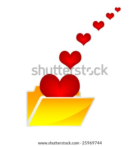 folder with hearts - stock vector