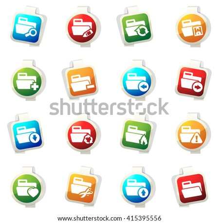 Folders stickers label icon set for web sites