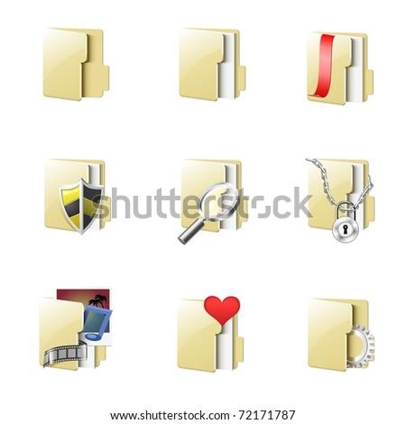 folders vector icon set - stock vector