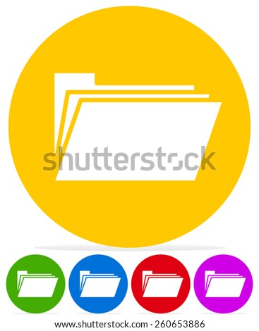 Folders with Different Symbols - Document Management Icons - stock vector