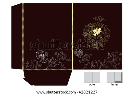 Folders with floral ornament - stock vector