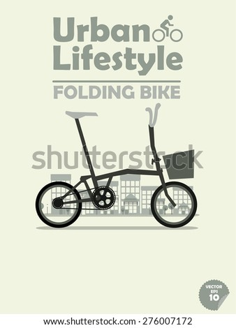 folding bike on town background,cycling in town,cycling or commuting in city urban environment,ecological transportation concept,urban transportation lifestyle,folding bike poster - stock vector