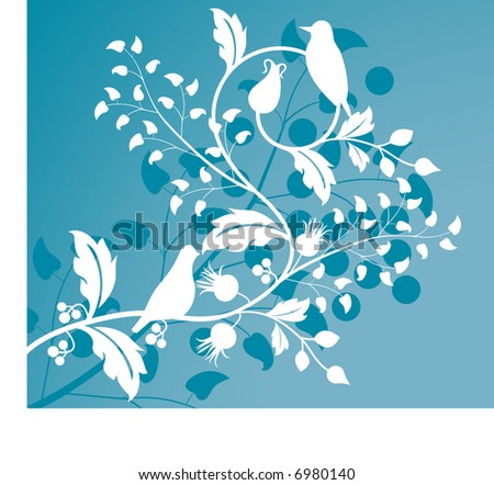 foliage with birds stylized - stock vector