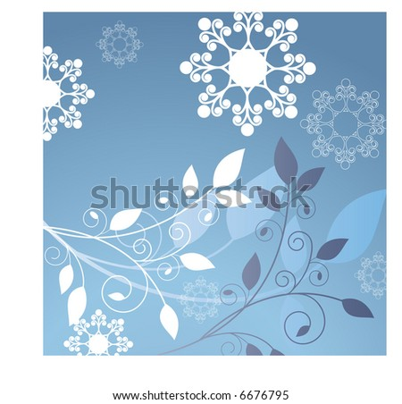 foliage with cool coil snowflakes - stock vector