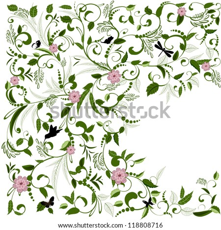 Foliate designs for greetings - stock vector